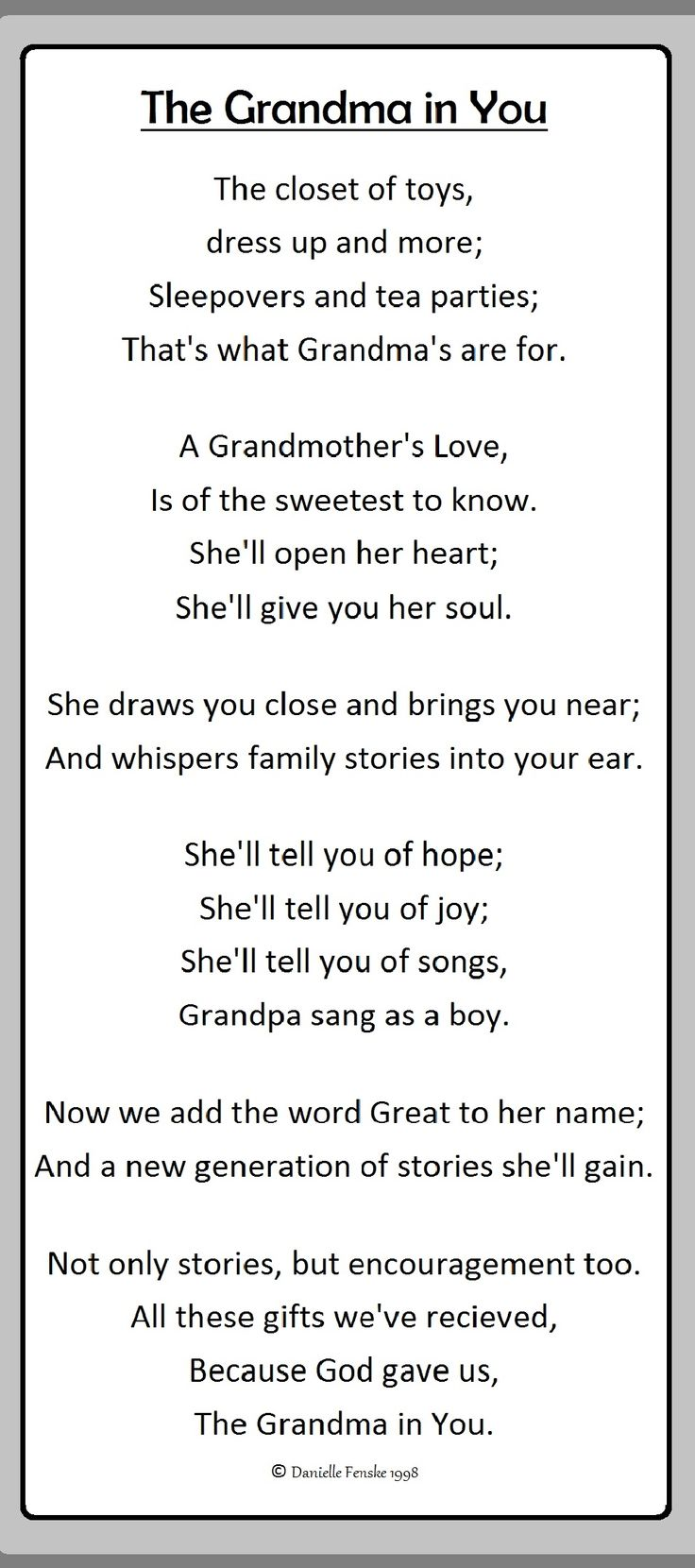 A poem I wrote for my grandmother, in 1998, to announce my pregnancy of her first great grandchild. #grandma #greatgrandma