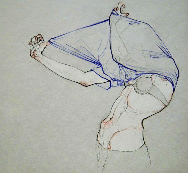 Undressing by Adara Sánchez Anguiano - Entiendo que esta artista se inspira en EGON SHIELE