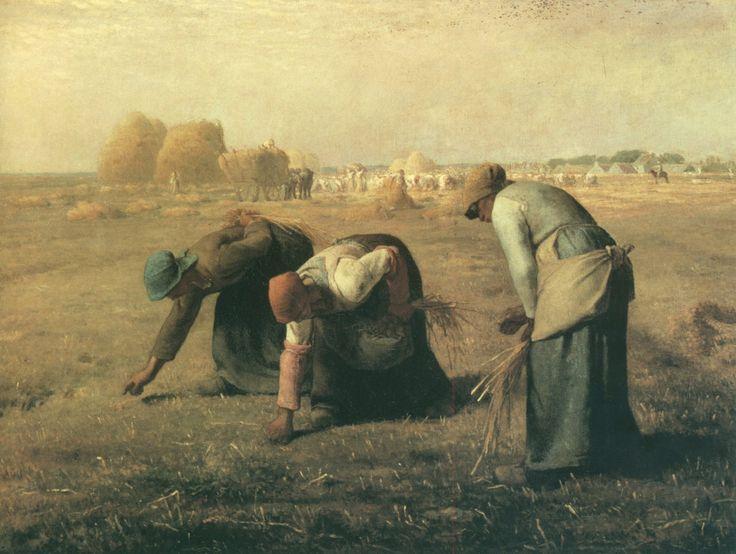 Jean-François millet, des glaneuses, (1847) Pas d'objectif de propagande, représenter le corps humain tel qu'il est. Le fait que le tableau est une fenêtre ouverte sur le monde, ou un miroir (vision de la renaissance) persiste.