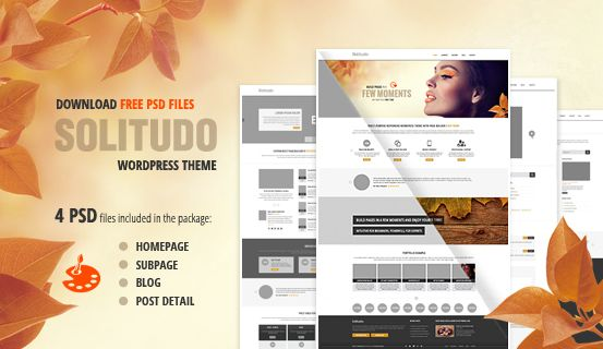 Giveaway! Free PSD files of our latest WordPress theme Solitudo. We expect to get approved theme this week.