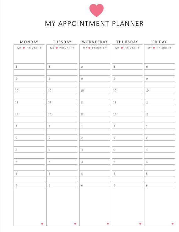 weekly appointment planner / HOURLY format / 8.5 x 11 / printable ...
