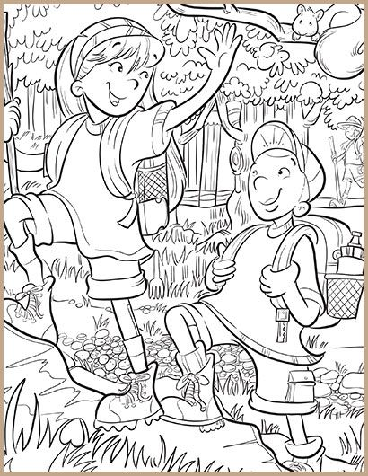 children hiking coloring page
