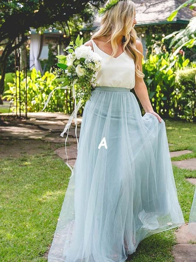 Cheap Light Blue Bridesmaid Dresses Two Piece Tulle Long Bridesmaid Dresses  ARD1187 f4b174a82