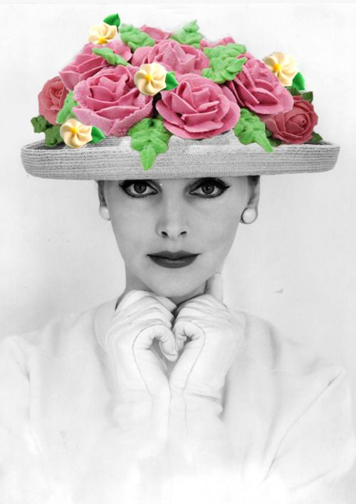 fashion, vintage photography, cake icing, collage, hats