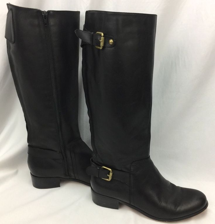 CORSO COMO Size 8.5 Women's Tall Riding Boots Black Leather Buckle Detail  | eBay