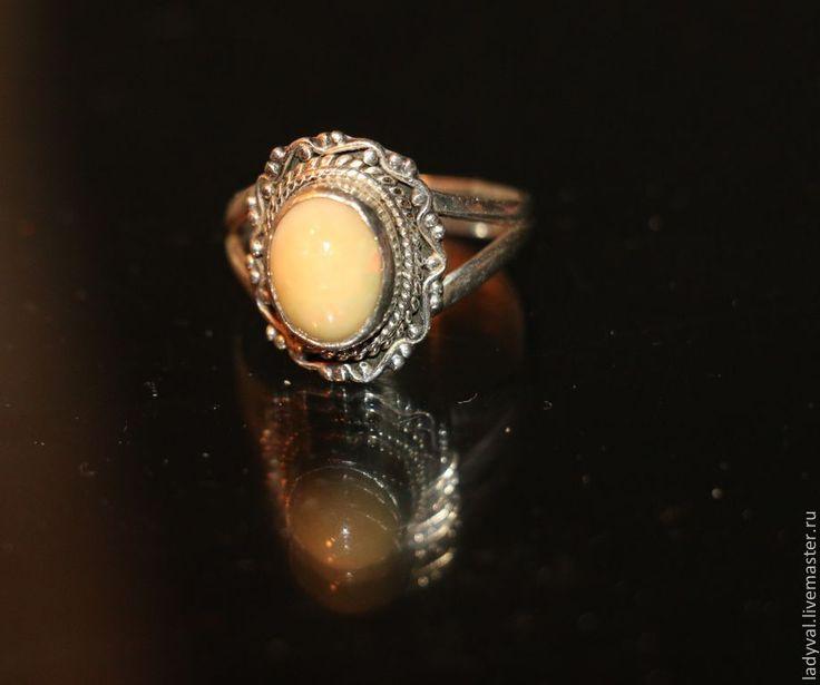 """Купить Кольцо""""МЕДОВОЕ""""-опал натуральный-серебро. - бежевый, кольцо с камнем, кольцо ручной работы"""