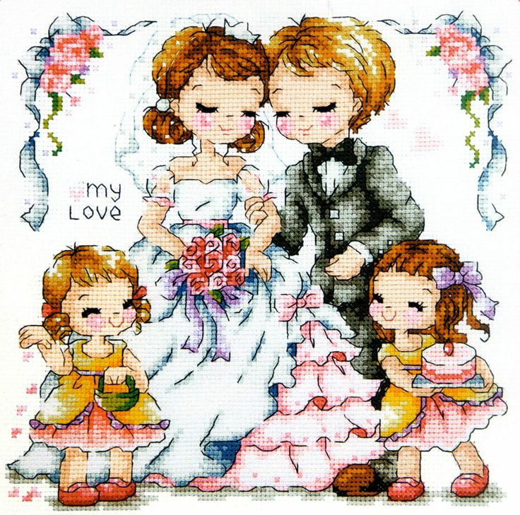 """""""Wedding story"""" counted cross stitch pattern Leaflet. - W 104count × H 97count"""