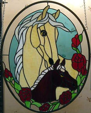 Mare and foal in stained glass...