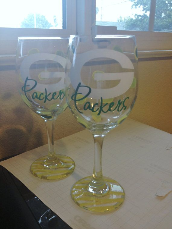 Green Bay Packers Wine Glass by SimplySaidStudio on Etsy, $13.00