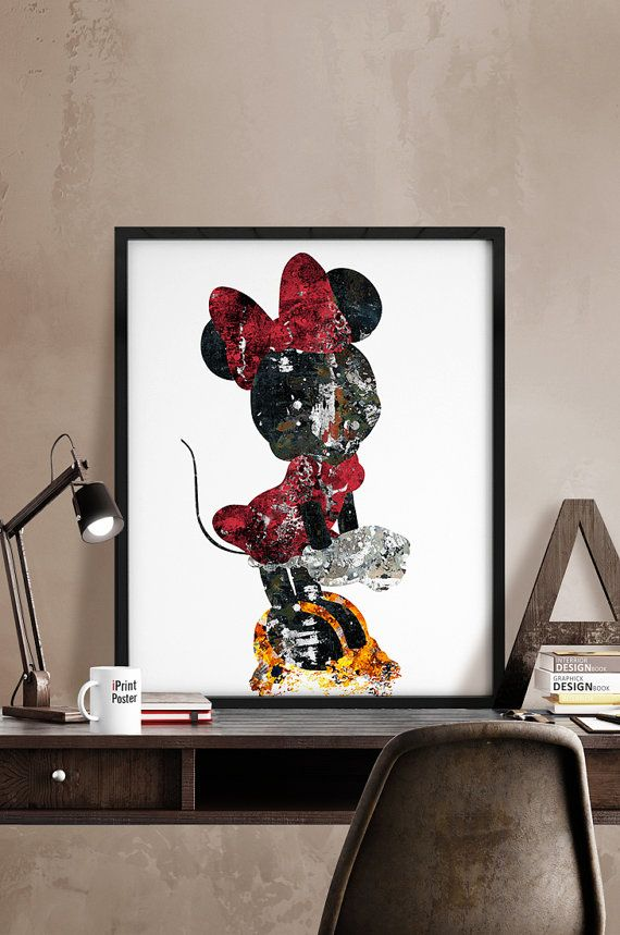 Minnie, Print, Kids Decor, Disney poster, Disney, Art, Minnie Illustration, Abstract, Wall art, Artwork, Comic poster, Gift, Home Decor.