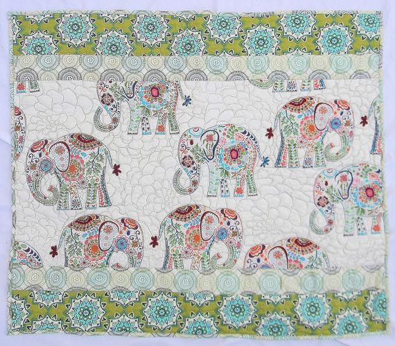 Elephant baby quilt or blanket  Crib bedding  by createdbymammy