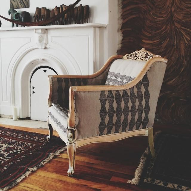 Alasko's chair upholstered in a hand-stamped linen, Remodelista