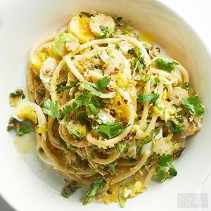 Twirl up this hearty pasta for lunch or a light dinner. Toasted panko breadcrumbs give the dish major crunch./