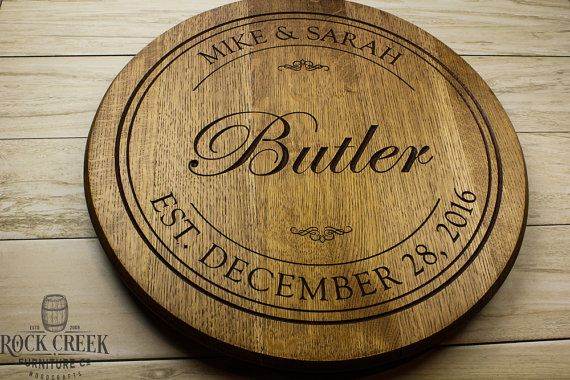 Personalized engraved Wine Barrel Lazy Susan, custom engraved, barrel head, Wedding gift, Anniversary gift, bourbon barrel, Bridal shower Our ENGRAVED barrel heads are the real deal!! Not painted on. No stickers. This is the PERFECT wedding gift for the bride or groom or for any occasion! This lazy Susan or wall mount is made from a retired wine barrel head that we have restored by lightly sanding. We then engrave your personalization deep into to wood and paint and stain, then clear coat…