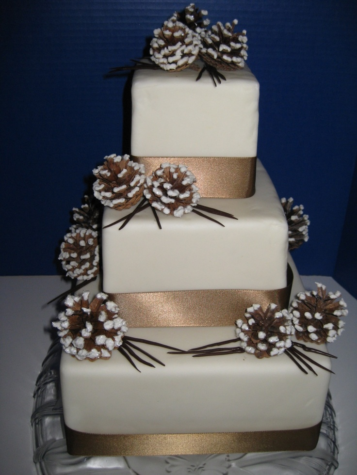this would be good if i stick with the all the pine ideas i have floating around. again, deep red ribbon instead of gold.: Winter Wedding Cak, Winter Cakes, Winter Weddings Cakes, Winter Wonderland Weddings, Pinecones, Tiered Cakes, Pine Cones, Wedding Cakes, Cakes Tips