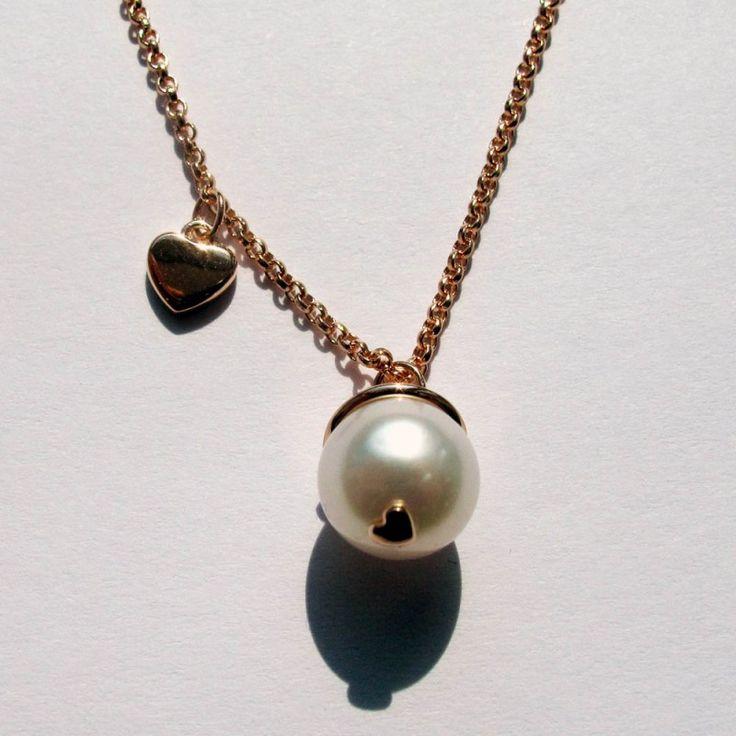 collezione amore in argento placcato oro rosa e perla coltivata d'acqua dolce