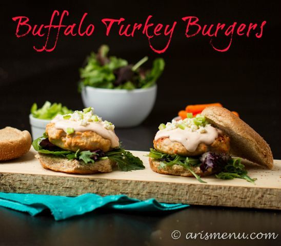 Buffalo Turkey Burgers | 10 pts with doubled amount of greek yogurt and blue cheese crumbles