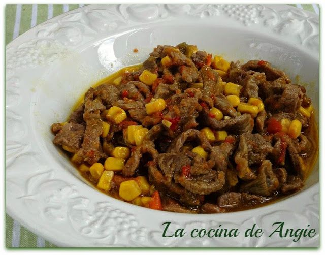 La cocina de Angie: TIRAS DE TERNERA CON MAÍZ