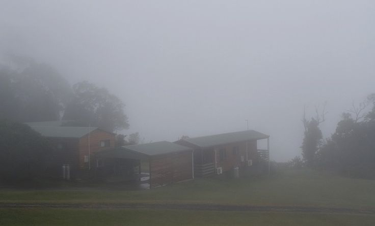 Cabins shrouded in mist!