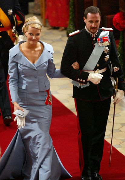 Crown Prince Haakon and his wife Crown Princess Mette-Marit of Norway arrive to attend the wedding between Danish Crown Prince Frederik and Miss Mary Elizabeth Donaldson in Copenhagen Cathedral May 14, 2004 in Copenhagen, Denmark. The romance began in 2000 when Donaldson met the heir to one of Europe's oldest monarchies over drinks at the Sydney Olympics, where he was with the Danish sailing team.