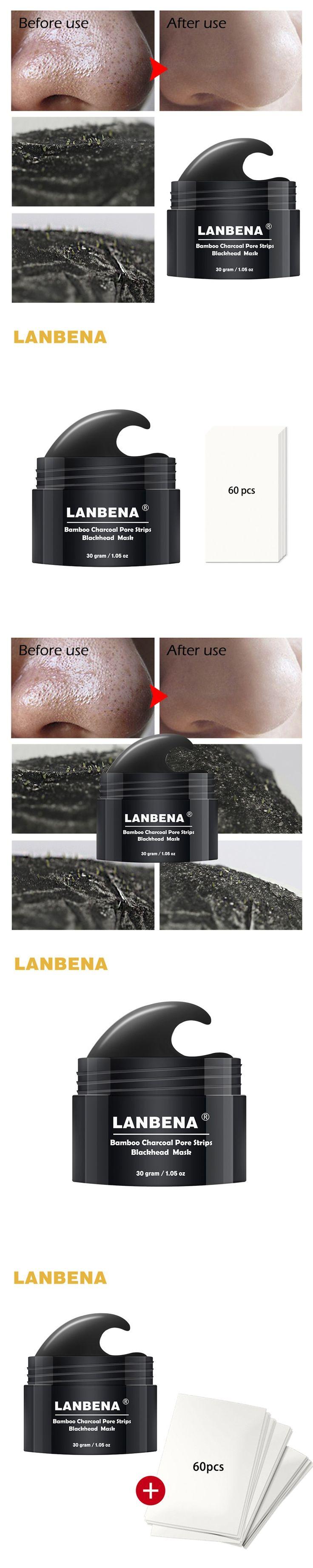 LANBENA Black Mask Blackhead Remover Nose Peel Mask Acne Treatment Pore Strip Peel off Blackhead Mask for the Face 60pcs Paper
