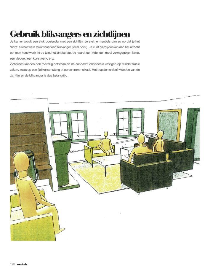 Bij het zoeken naar de juiste meubelopstelling is het belangrijk om met een aantal zaken rekening te houden, o.a. met 'zichtlijnen'. Alle belangrijke aspecten bij het plaatsen van meubels worden behandeld in Interieurbasics.