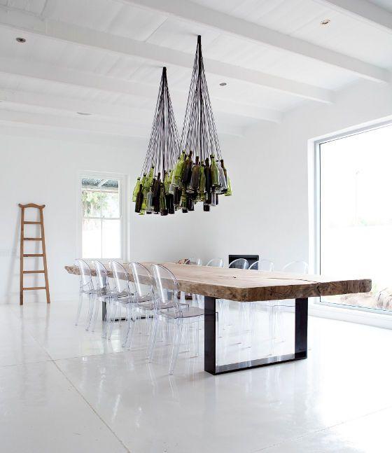 desire to inspire - desiretoinspire.net - MaisonEstate: Interior, Dining Room, Ideas, Chandeliers, Wine Bottle Chandelier, Table, Wine Bottles, Design, Winebottle