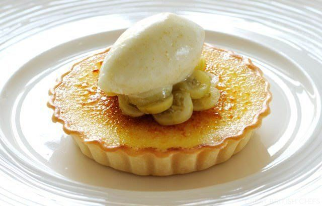 Gooseberry Custard Tart Recipe With Gooseberry & Ginger Sorbet... This gooseberry tart recipe is a wonderful way to herald the glorious gooseberry season in Britain, which runs from late May through August. Nathan Outlaw pairs this delicious tart with a gooseberry and ginger sorbet, making this dessert a perfect summer treat...