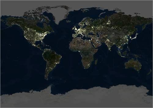 Acrylglasbild 40 x 30 cm Erde bei Nacht von Planetobserver