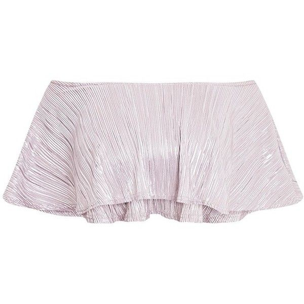 Shape Madaline Silver Metallic Bandeau Crop Top ($19) ❤ liked on Polyvore featuring tops, bandeau top, silver metallic top, crop top, pink bandeau top and pink top