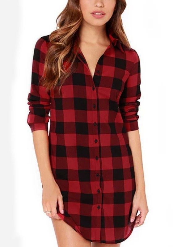 Plaid Flannel Tunic Shirt