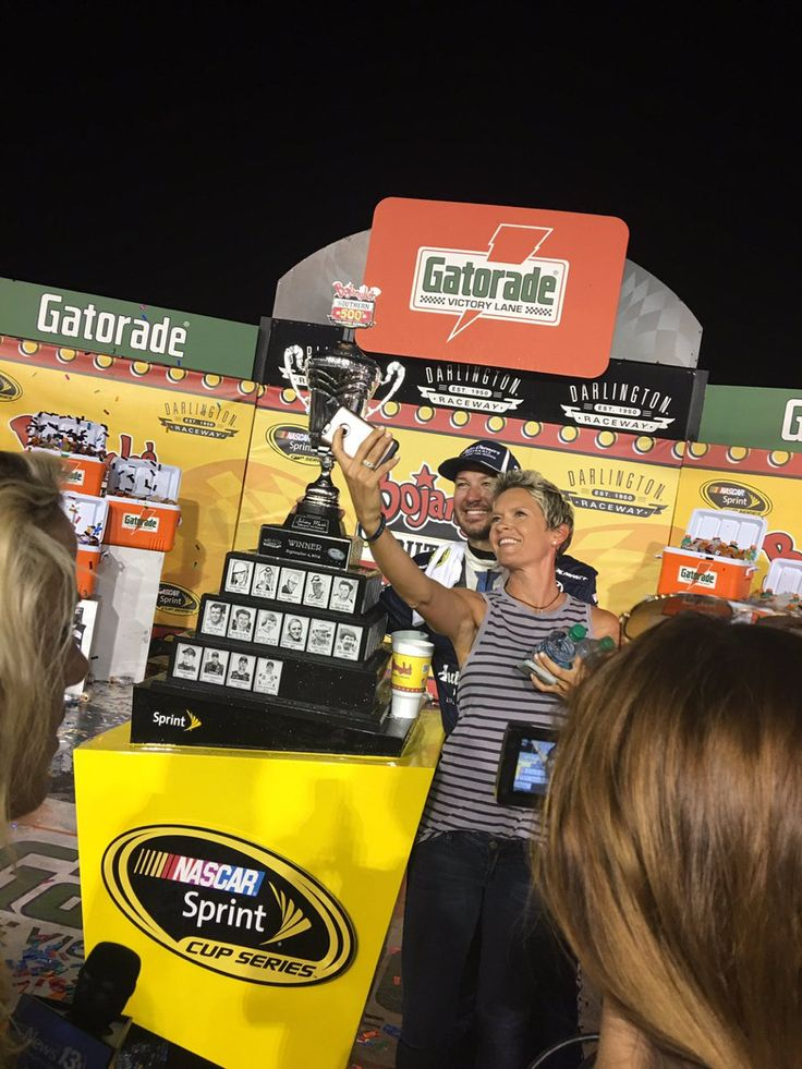 It's selfie time from Victory Lane for Martin Truex Jr & Sherry Pollex