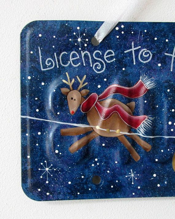 Licence to Fly SantaSleigh and Reindeer Licence Plate