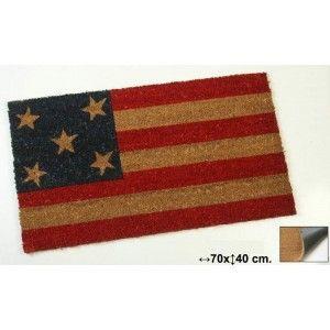 Felpudo Bandera Americana en fibra de coco de 70x40cm con base de goma.