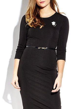 Elegant Belt Slim Pencil Dress For Women With Brooch