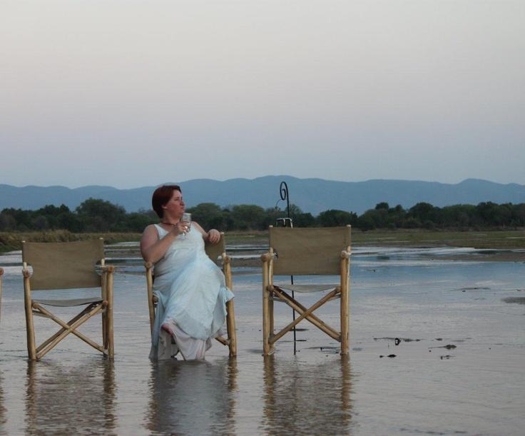 Sundowners on the Zambezi river! #Zambia
