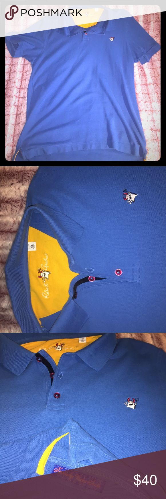 Rare Robert Graham red devil polo Royal blue Robert Graham red devil polo with yellow accent. Knowledge wisdom truth tag on bottom right and Robert Graham signature on back neck in red. Robert Graham Shirts Polos