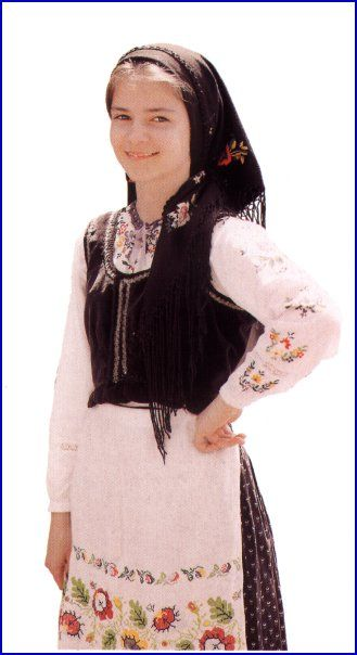 Girl in the traditional dress of the Lemko, an ethnic group prevalent in Ukraine, Poland and Slovakia.