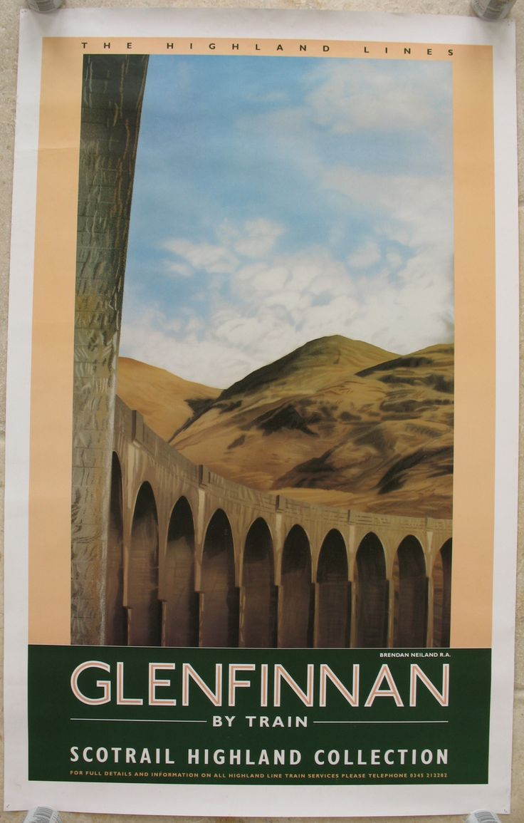 Glenfinnan by Train - Scotrail Highland Collection, by Brendan Neiland. Glenfinnan Viaduct, 21arches long, and build by Robert McAlpine is on the West Highland Line between Fort William and Mallaig, and was completed in 1898. It is situated at the end of Loch Shiel and overlooks the Glenfinnan Monument. Original Vintage Railway Poster available on originalrailwayposters.co.uk