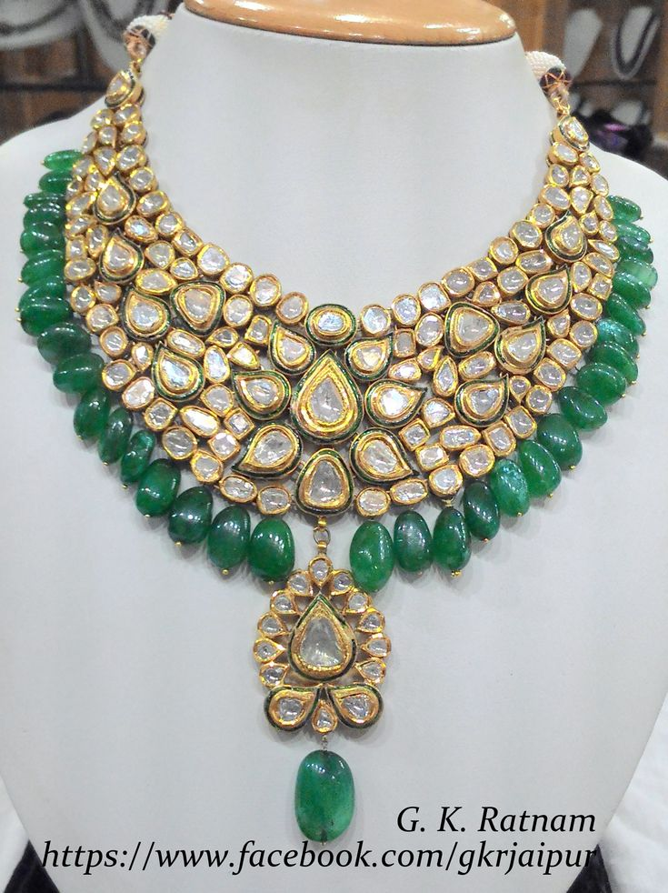 Green meenakari diamond polki necklace with beryl drops | Vilandi Jewelry | Diamond polki jewelry | Bridal sets | Traditional Indian Jewelry | Wedding Jewelry