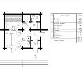 Небольшая баня на 4-5 человек при своей компактности обладает всем необходимым для комфортных банных процедур. В комнате отдыха установлено витражное окно с распашной частью, с трёх сторон баню опоясывает терраса.