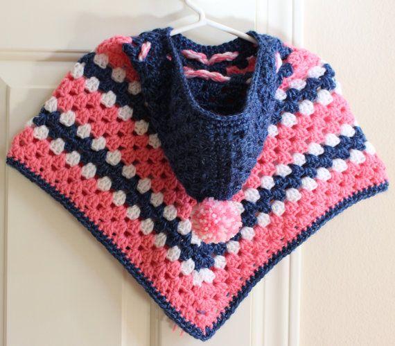 Hooded Poncho with a pom pom Girls Poncho Crochet by Knit2Create