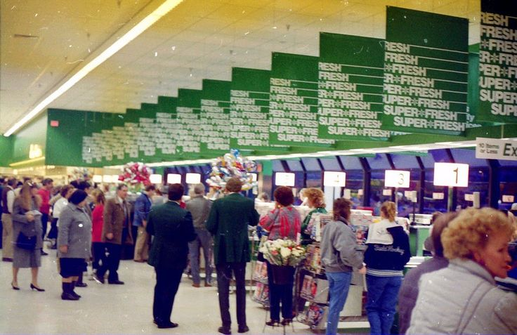 A look across the Front End of Super Fresh Market 466 at Marlton Crossing on Route 73 in Marlton, NJ during the Pre-Opening Open House on January 31, 1987. This Super Fresh used the A&P Sav-A-Center format. It was remodeled in the Super Fresh beige color scheme in the 1990s and closed in August, 2000. Scanned from 35 mm negative.