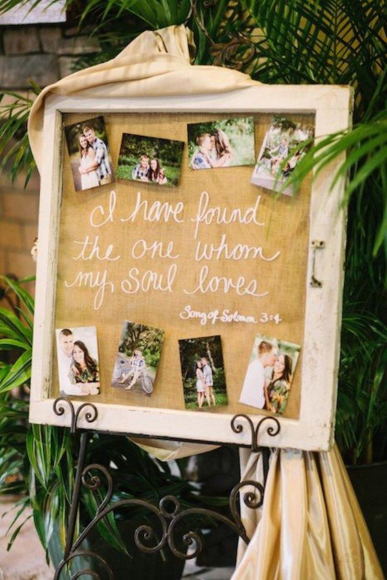 Surrounding a quote with photographs will create an interesting piece in your venue space / http://www.deerpearlflowers.com/wedding-photo-display-ideas/