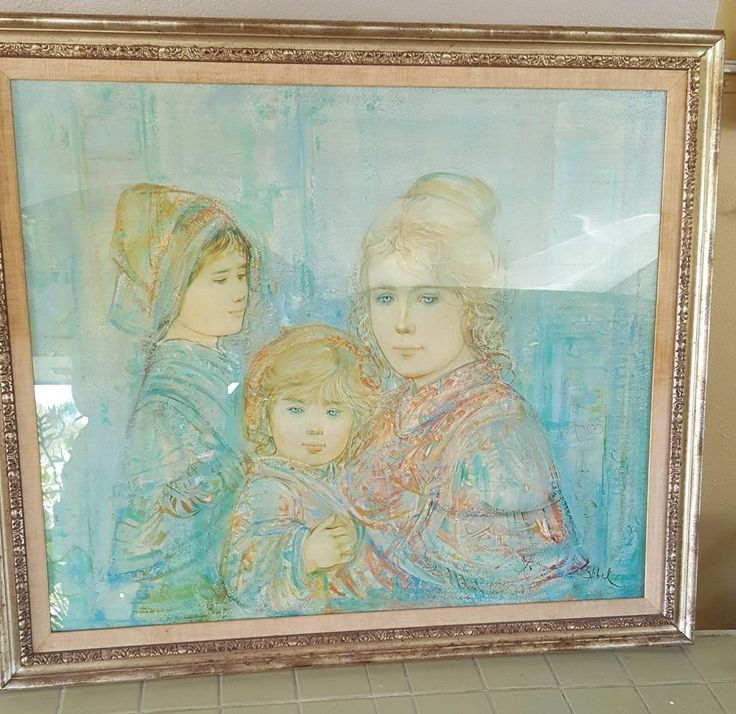 Edna Hibel Hannah and Her Two Children Lithograph Signed Numbered 514/1000