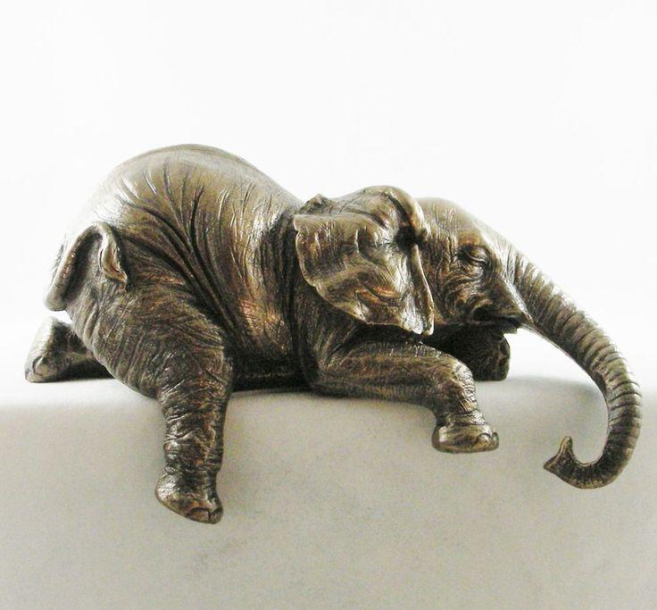 Baby african elephant shelf sitter figurine bronzed statue