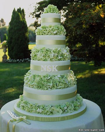 A traditional tiered confection covered with pale green fondant has fresh hydrangeas between the layers (each cake tier is topped with clear acetate so flowers don't touch the icing). The monogram is made of royal icing sprinkled with nonpareils for texture