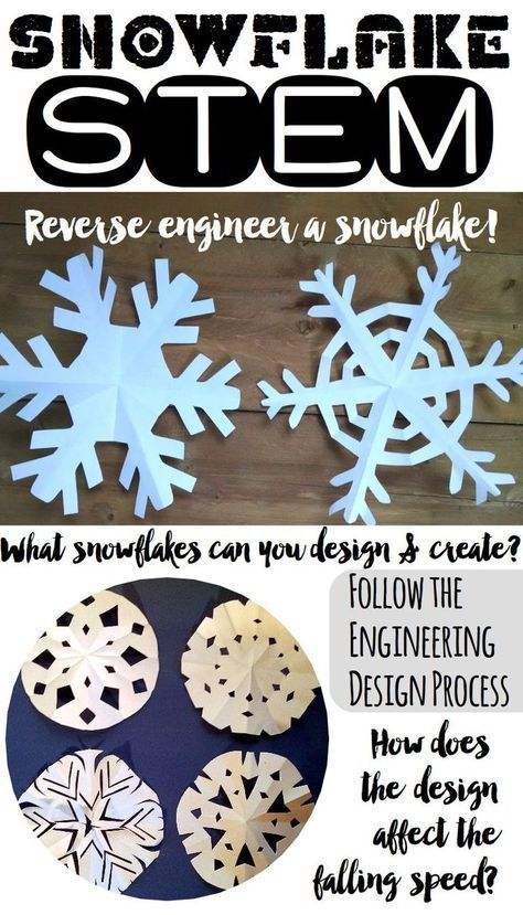 Winter STEM Challenges - Snowflake STEM - Reverse engineer a snowflake. Follow the engineering design process. How does the design affect the falling speed?