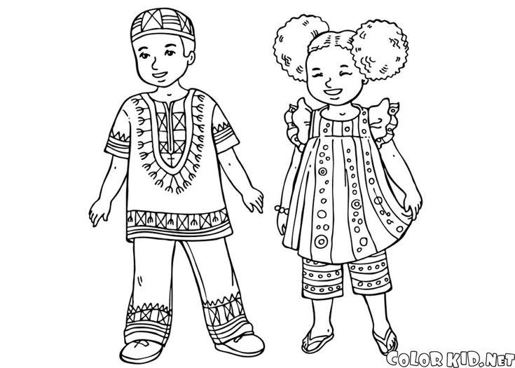 Téléchargez ou imprimez la page à colorier  Enfants africains