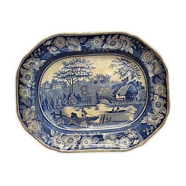 Victorian Pastoral Wall Platter (700 BRL) ❤ liked on Polyvore featuring home, kitchen & dining, serveware, decor, wall platter and blue and white platter